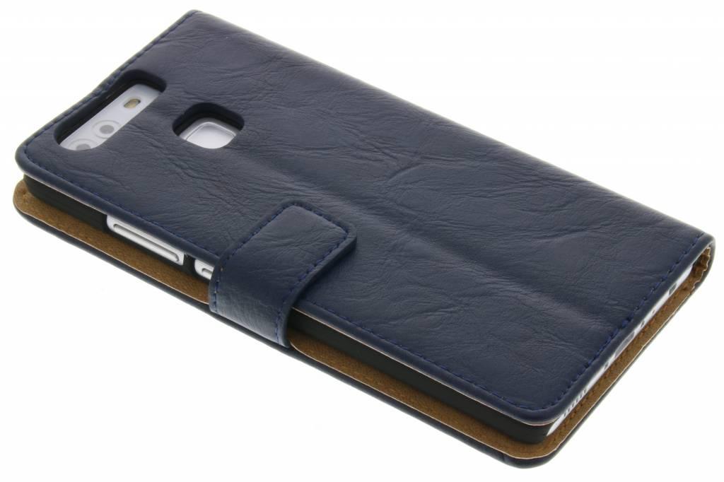 Donkerblauwe kreukelleder booktype hoes voor de Huawei P9