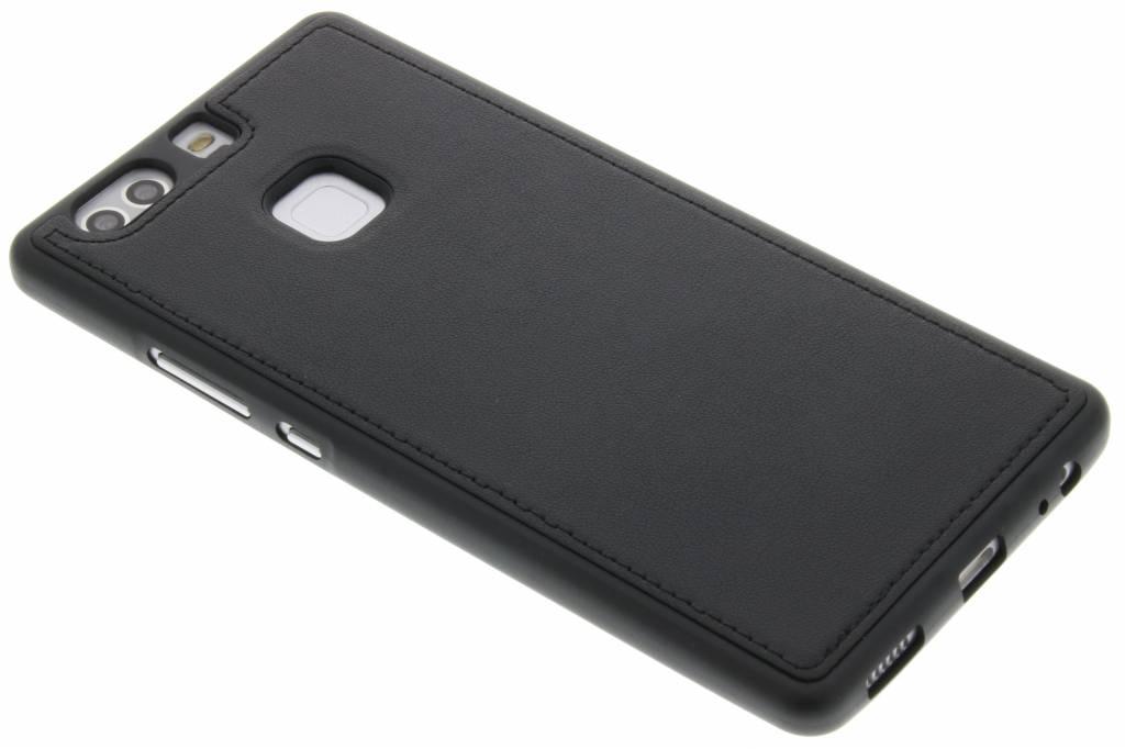Zwarte lederen TPU case voor de Huawei P9 Plus