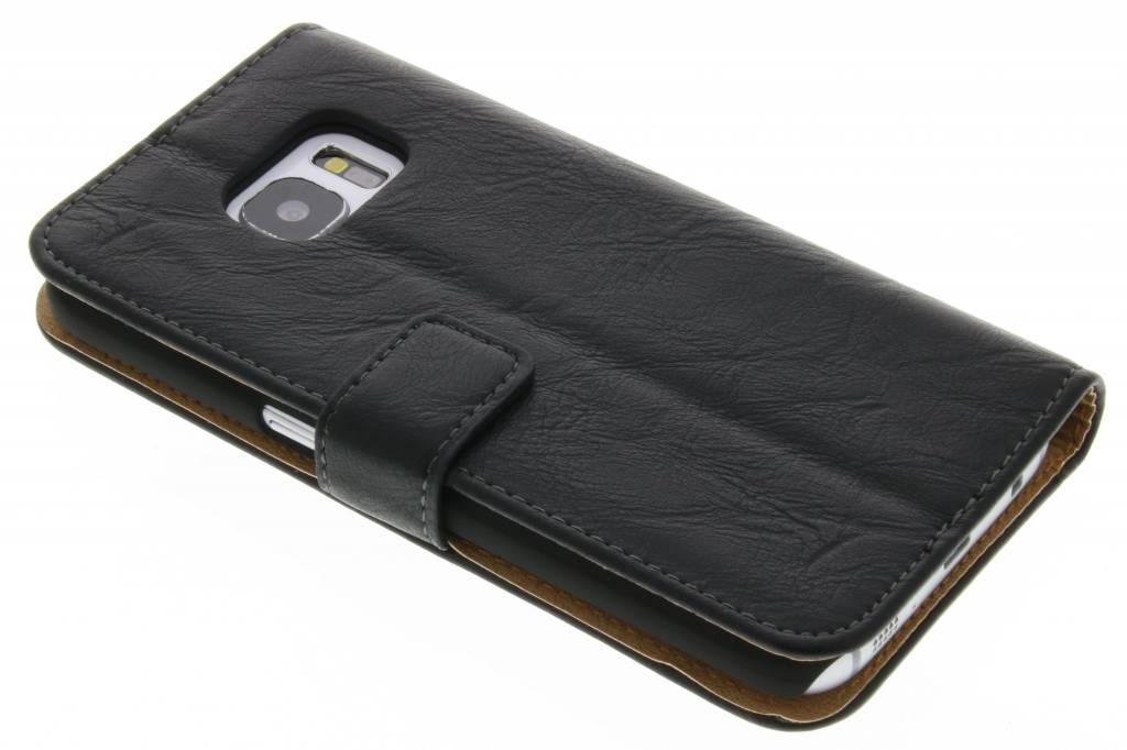 Zwarte kreukelleder booktype hoes voor de Samsung Galaxy S7