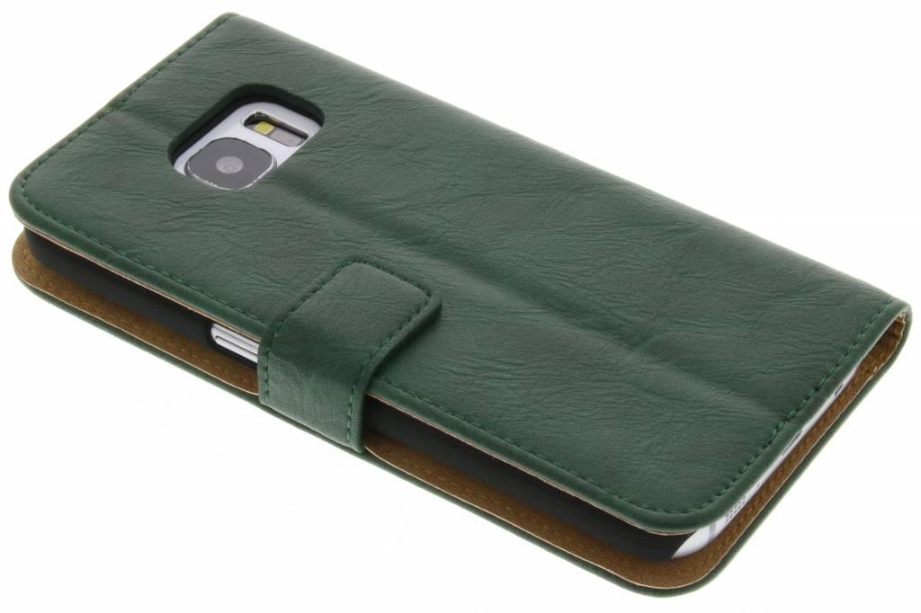 Groene kreukelleder booktype hoes voor de Samsung Galaxy S7
