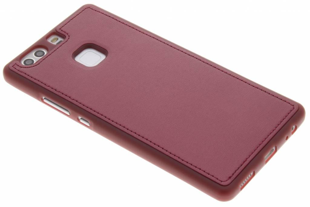 Rode metallic lederen TPU case voor de Huawei P9 Plus