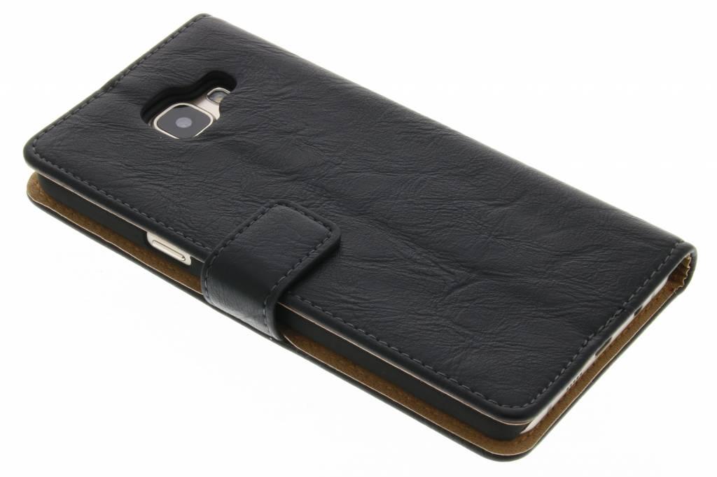 Zwarte kreukelleder booktype hoes voor de Samsung Galaxy A5 (2016)