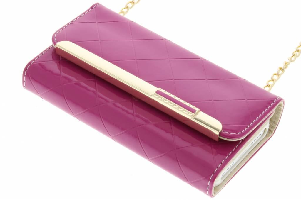 Fuchsia glossy portemonnee hoesje voor de iPhone 5 / 5s / SE