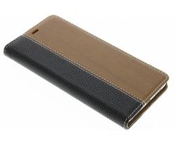 Hout leder design booktype hoes Huawei P9 Lite