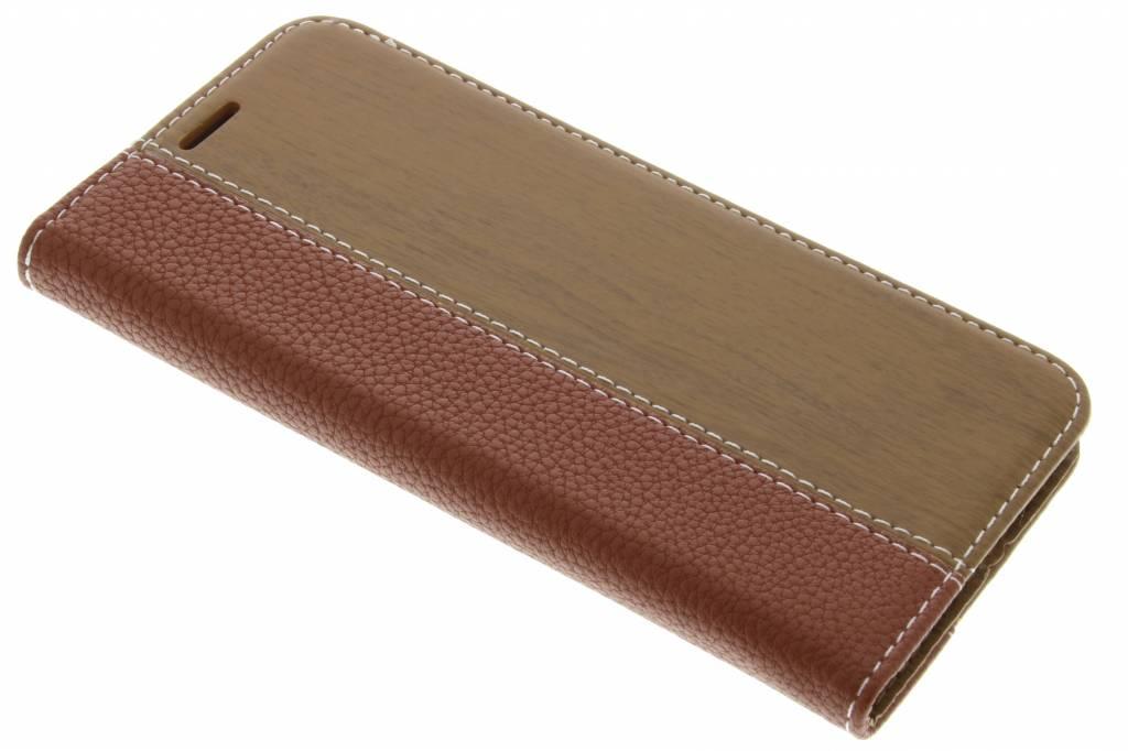 Bruine hout leder design booktype hoes voor de LG G5 (SE)