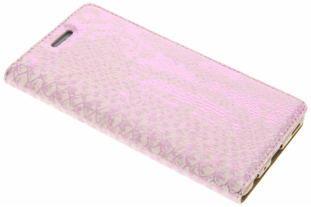 Roze luxe slangen TPU booktype hoes voor de Huawei P9