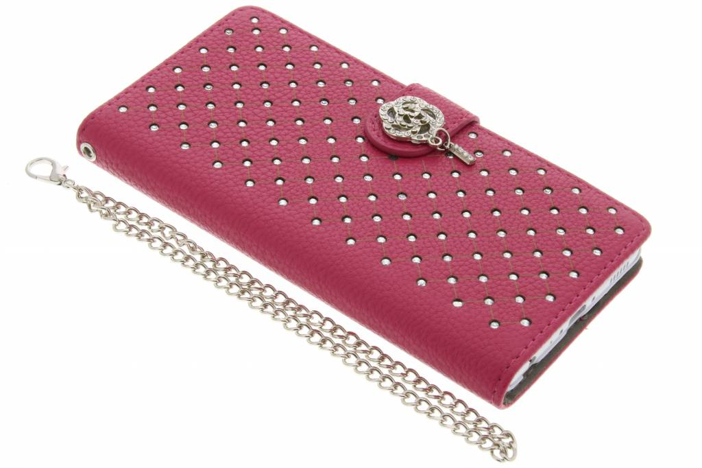 Fuchsia chique strass booktype hoes voor de Huawei P8