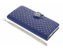 Blauw chique strass booktype hoes Huawei P8