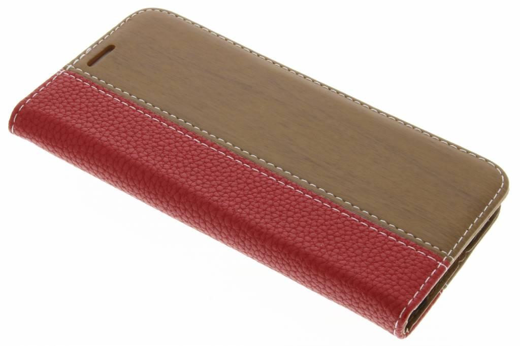 Rode hout leder design booktype hoes voor de Samsung Galaxy S7 Edge