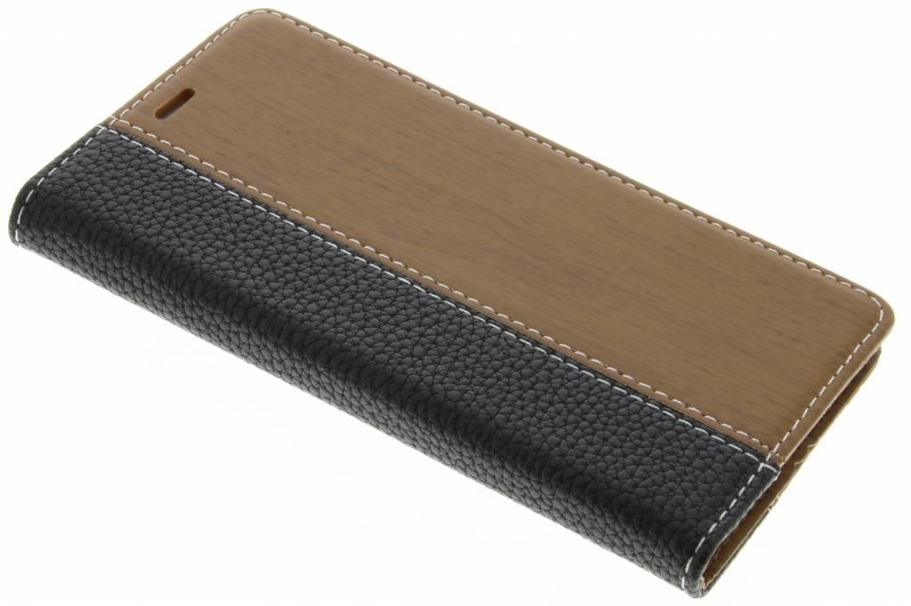 Zwarte hout leder design booktype hoes voor de Huawei P9