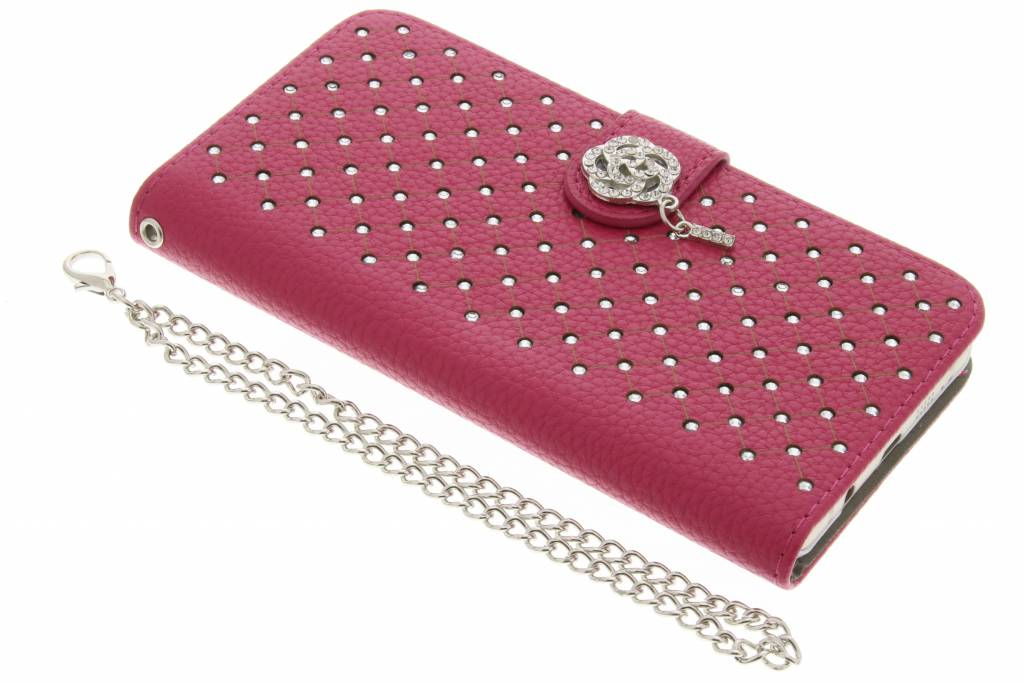 Fuchsia chique strass booktype hoes voor de Samsung Galaxy A5 (2016)