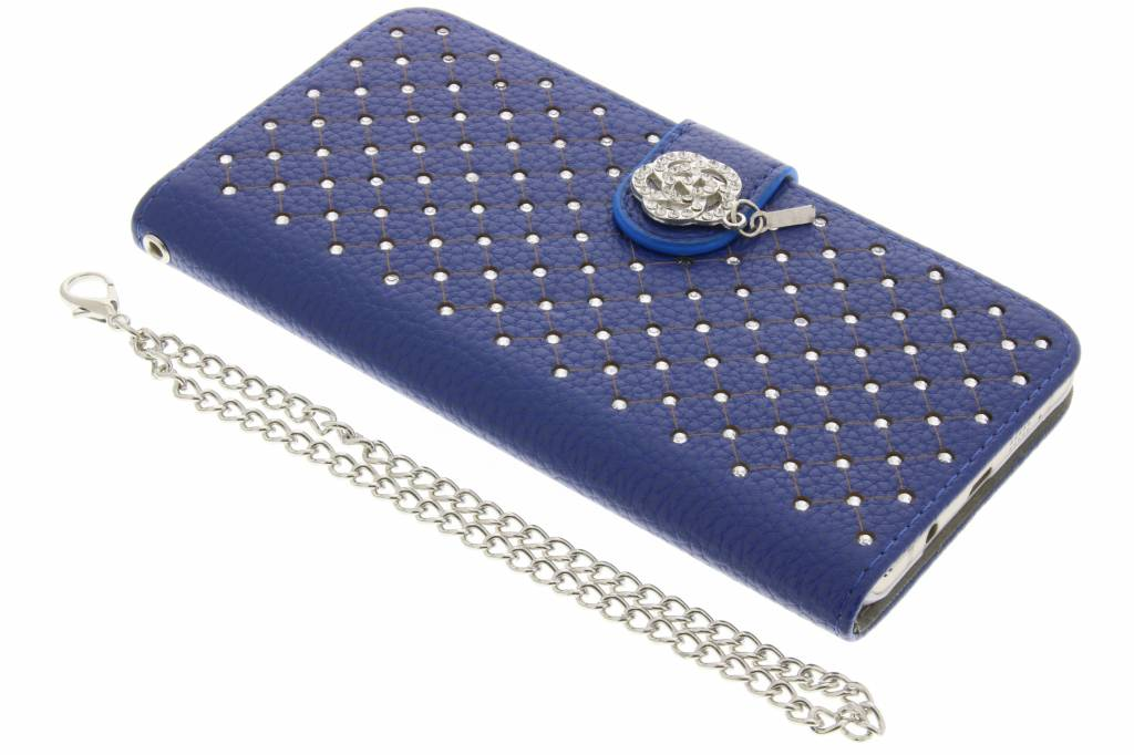 Blauwe chique strass booktype hoes voor de Samsung Galaxy A5 (2016)