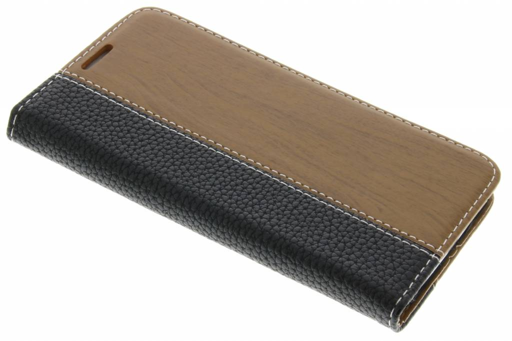 Zwarte hout leder design booktype hoes voor de Samsung Galaxy S6
