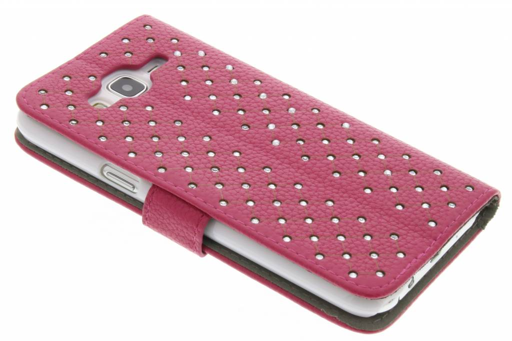 Fuchsia chique strass booktype hoes voor de Samsung Galaxy J5