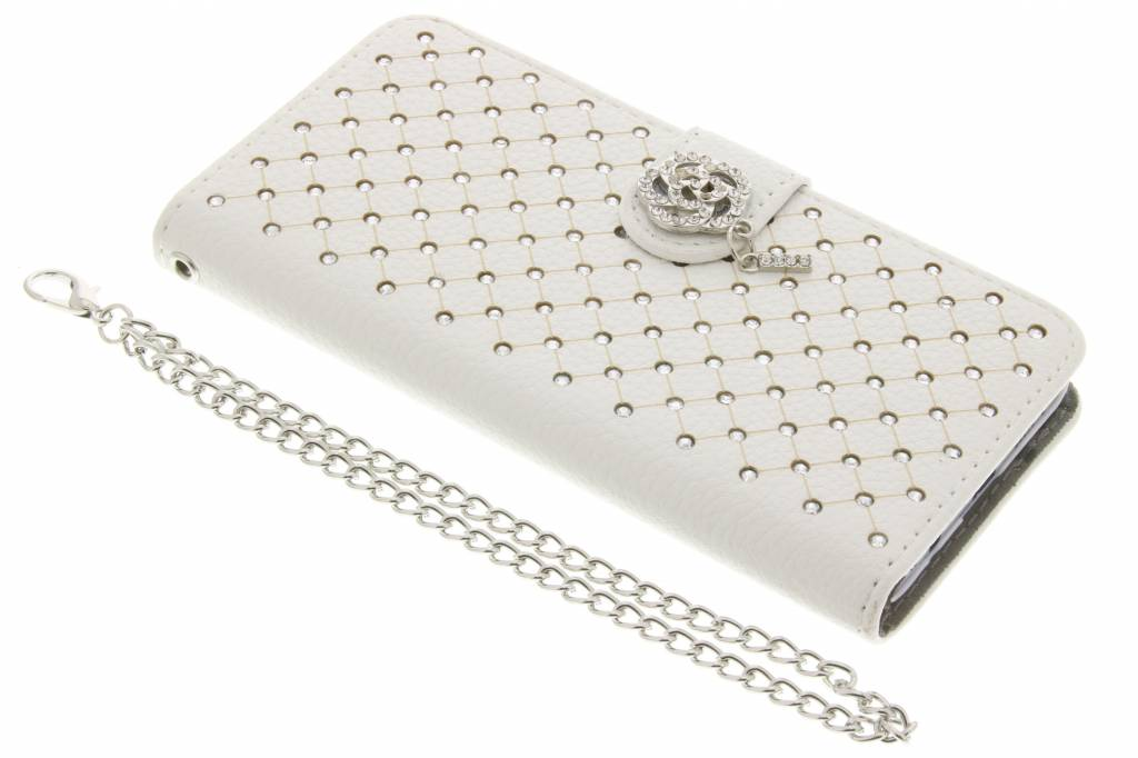 Witte chique strass booktype hoes voor de Samsung Galaxy A3 (2016)