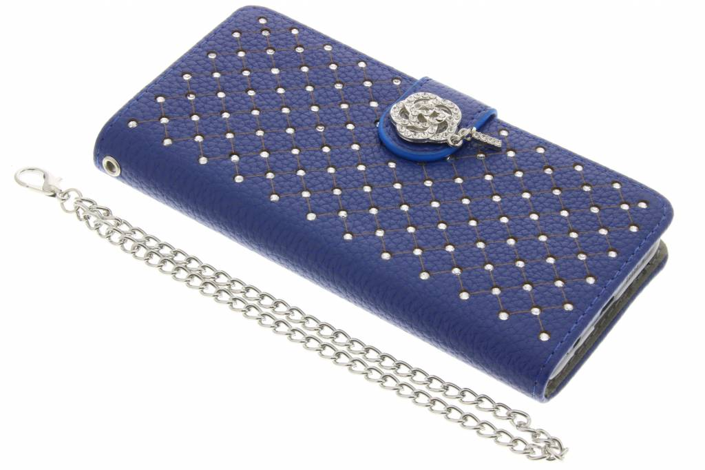 Blauwe chique strass booktype hoes voor de Samsung Galaxy A3 (2016)