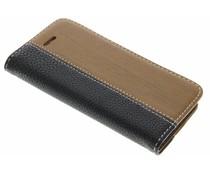 Hout leder design booktype iPhone 5 / 5s / SE