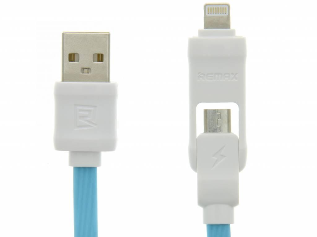 Image of 2-in-1 Micro-USB en Lightning naar USB-kabel 1 meter - Wit / Blauw