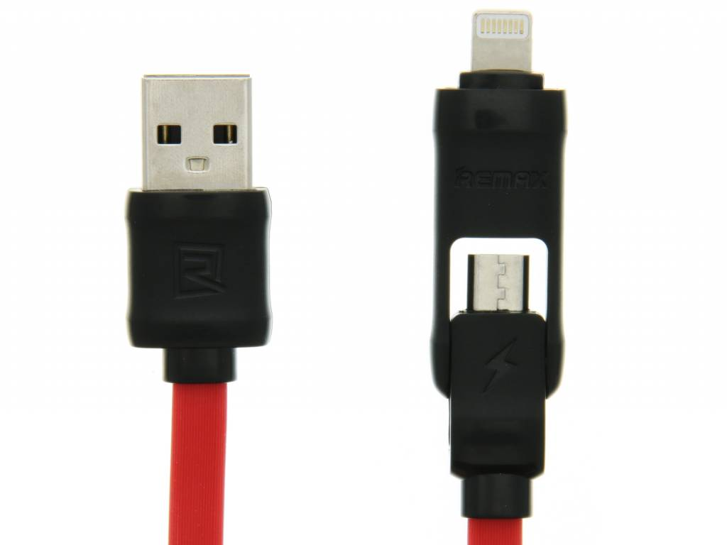 Image of 2-in-1 Micro-USB en Lightning naar USB-kabel 1 meter - Zwart / Rood