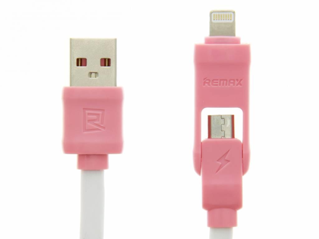 Image of 2-in-1 Micro-USB en Lightning naar USB-kabel 1 meter - Roze / Wit