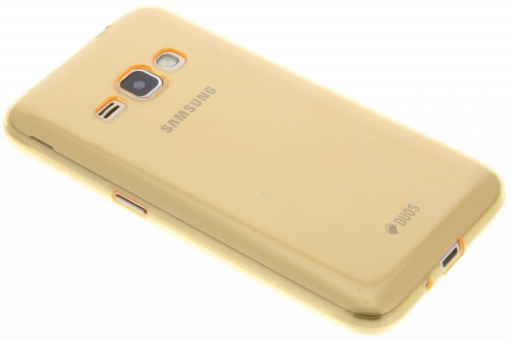 Oranje utra thin transparant TPU hoesje voor de Samsung Galaxy J1 (2016)