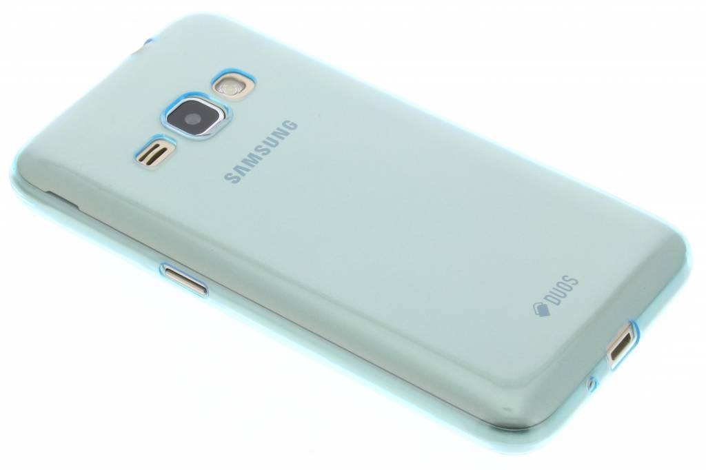 Blauw utra thin transparant TPU hoesje voor de Samsung Galaxy J1 (2016)