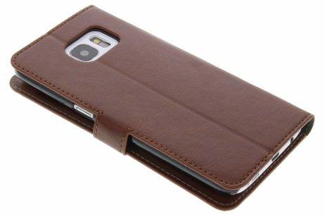 Cuir Bois Brun Boîtier De Type Livre De Design Pour Samsung Galaxy S7 nc84xE
