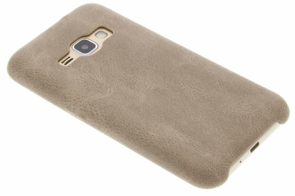 Beige TPU Leather Case voor de Samsung Galaxy J1 (2016)