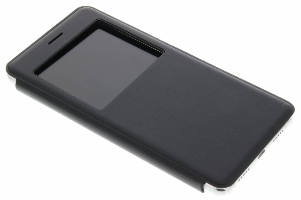 Zwart transparant slim booktype hoes met venster voor de Huawei P9 Lite