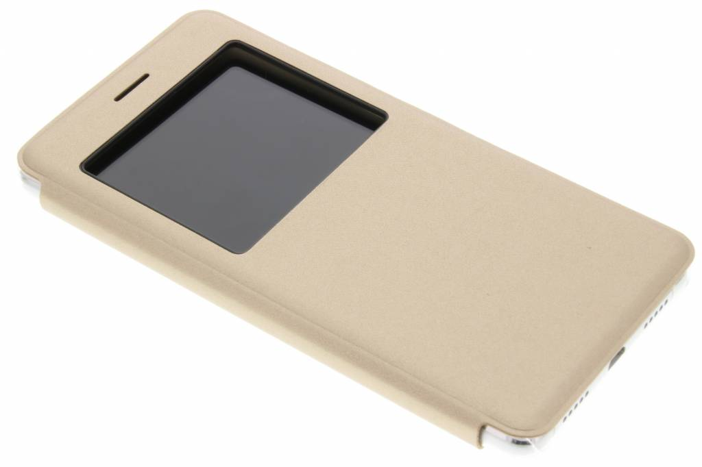 Gouden transparant slim booktype hoes met venster voor de Huawei P9 Lite