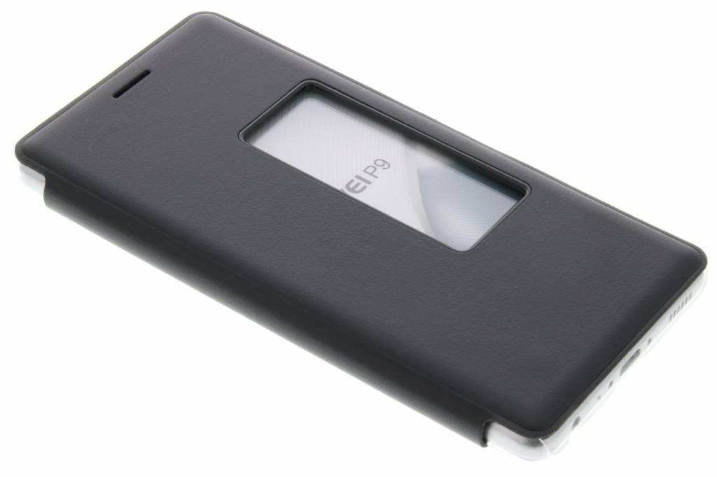 Zwarte transparant slim booktype hoes met venster voor de Huawei P9