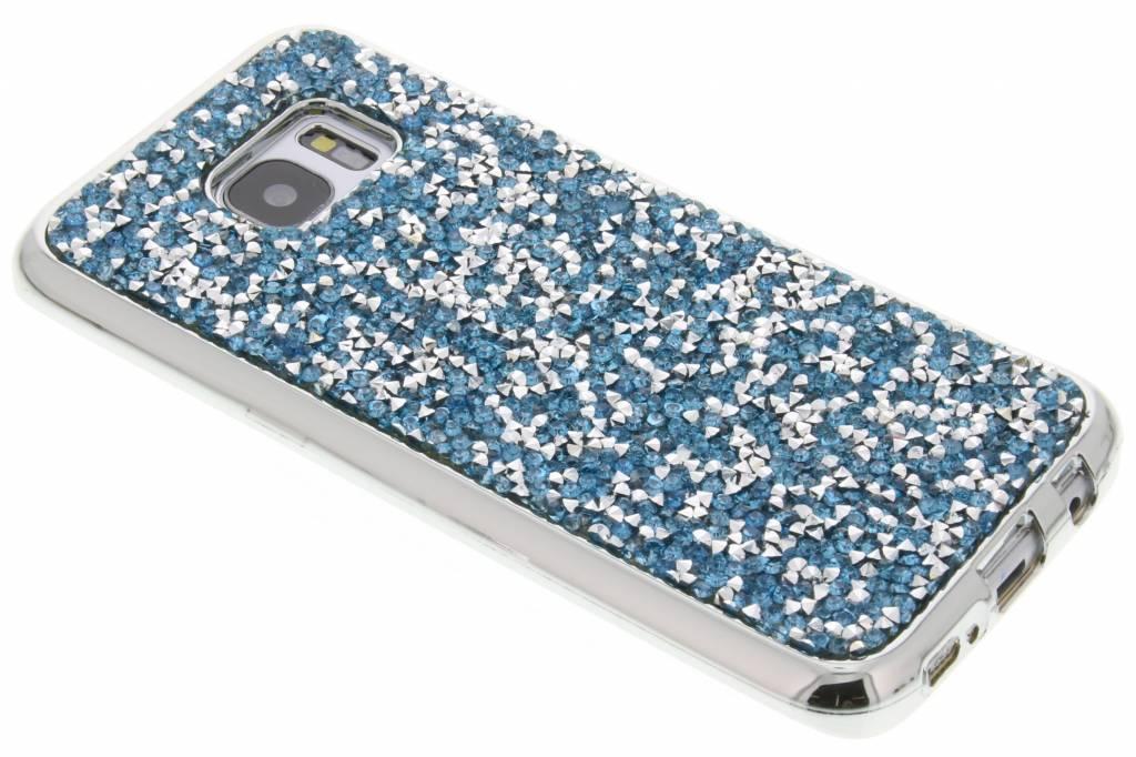 Blauw blingbling TPU hoesje voor de Samsung Galaxy S7 Edge