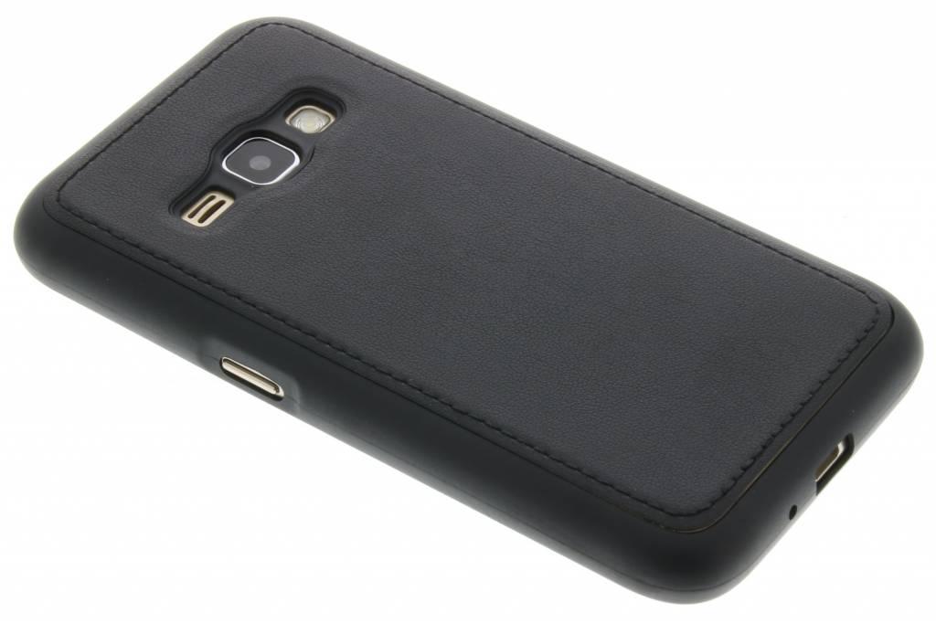 Zwarte lederen TPU case voor de Samsung Galaxy J1 (2016)