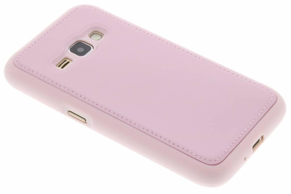 Roze lederen TPU case voor de Samsung Galaxy J1 (2016)