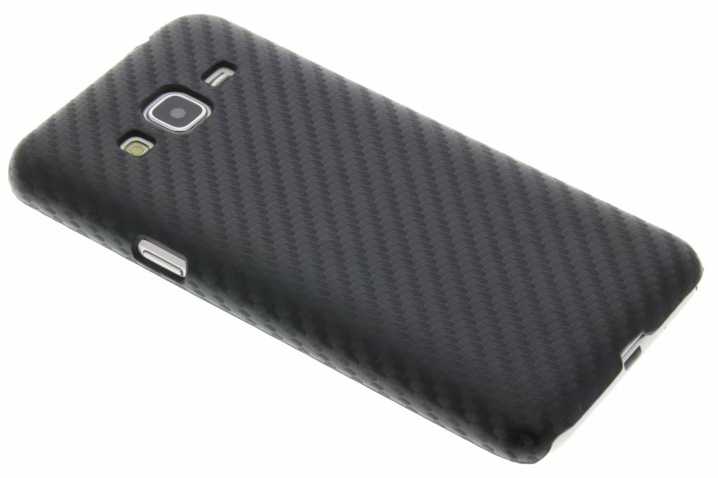 Zwart carbon look hardcase hoesje voor de Samsung Galaxy J3 / J3 (2016)