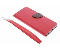 Rood blad design booktype hoes Sony Xperia C5 Ultra
