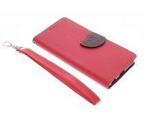 Rood blad design booktype hoes Sony Xperia M5