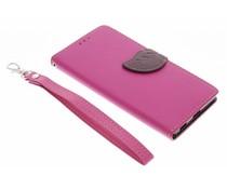 Fuchsia blad design booktype hoes Sony Xperia M5