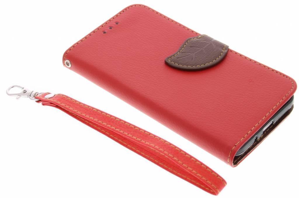 Conception Feuille Rouge Cas Booktype Tpu Pour Samsung Galaxy S4 cyHqQj