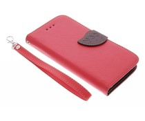Rood blad design TPU booktype hoes HTC One M9