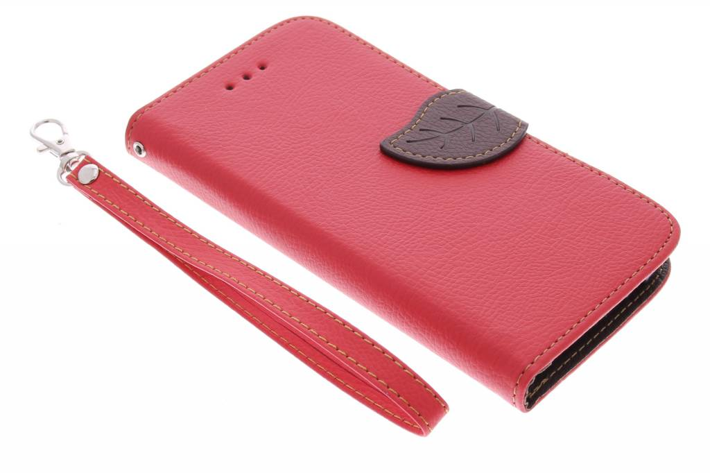 Rode blad design TPU booktype hoes voor de HTC One M9