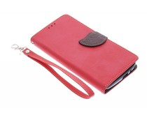 Rood blad design TPU booktype hoes Huawei Ascend G7