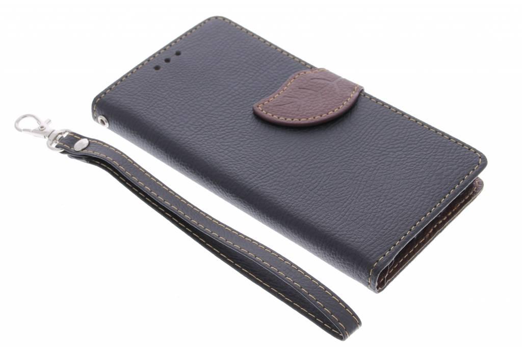 Zwart blad design TPU booktype hoes voor de Huawei P8 Lite