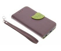 Bruin blad design TPU booktype hoes LG G3 S