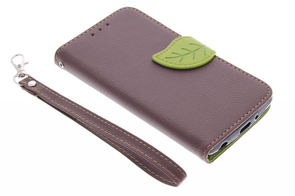 Bruin blad design TPU booktype hoes voor de LG G3 S