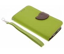 Groen blad design TPU booktype hoes LG K4