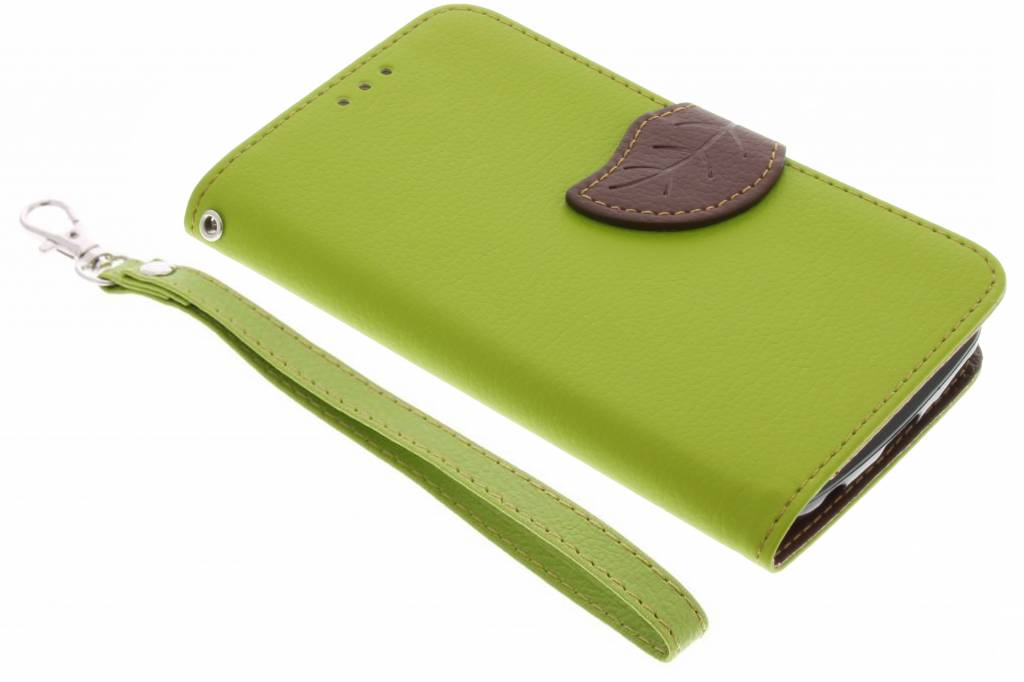 Groene blad design TPU booktype hoes voor de LG K4