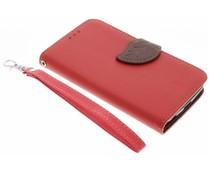 Rood blad design TPU booktype hoes LG K4