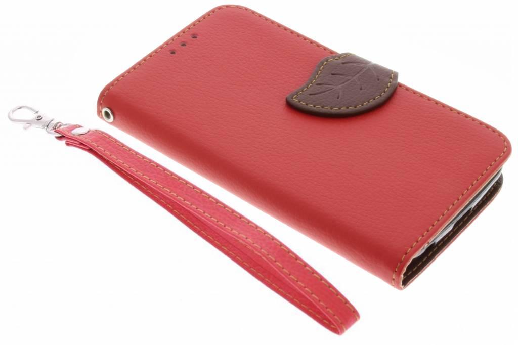 Rode blad design TPU booktype hoes voor de LG K4