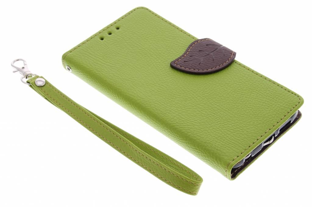 Groene blad design TPU booktype hoes voor de Samsung Galaxy S6